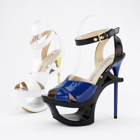 Women's shoes ultra thin heels cutout platform a belt hasp sexy sandals 35 - 41