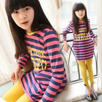 free shipping new arrival spring clothing 2014 stripe o-neck girl's basic shirt long design child long-sleeve T-shirt