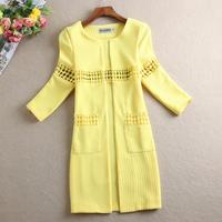 Free Shipping New 2014 Spring And Autumn Fashion Women Elegant All-match Medium-long Cutout Blazer Suit Female Outerwear