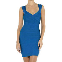 Crossover Hot Sale Bandage Dress Open Back Sleeveless Blue Bodycon Sexy Party Women Dresses Discount Free Shipping