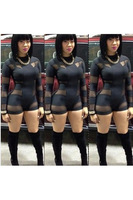 2015 New Design Black Sexy Women Jumpsuit Long Sleeve Woman Spring and Summer Jumpsuit and Rompers Hollow Out Party Overalls
