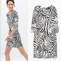 Spring 2014 New Arrival Fashion vintage zebra print Dresses women half sleeve slim party evening brand summer dress SYY0685