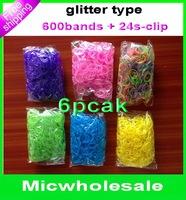DIY glitter  Rubber bands  loom band refill   for DIY charm  bracelet (600pcs band + 24 S-clip ) 4colors for choose