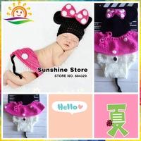 Sunshine store #3C2646  retail Mickey Mouse Baby Handmade Knit Crochet Knitting Flower Newborn Photography Props Hats  Short set