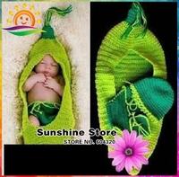 Baby Pea sleeping bag Cute crochet costume baby clothes Newborn Handmade gorros ganchillo bebe short/hat set #3C2648 retail