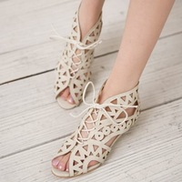Big Size 34-43 Fashion Cutouts Lace Up Women Sandals Open Toe Low Wedges Yellow Black White Summer Shoes JDM652