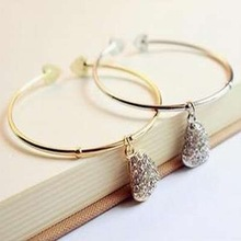 1pcs Womens Crystal Rhinestone Bracelet Heart Cuff Bangle Wristband Silver/Gold#5544(China (Mainland))