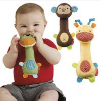 Baby rattles toys animal designs plush baby toys Educational BB rattles giraffe monkey crocodile toys 6piece/lot Free shipping