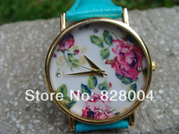 Hot sale, Newest Style Watch Unisex Rose strap watch Fashion Leather Watch Wrist Quartz Watches Blue