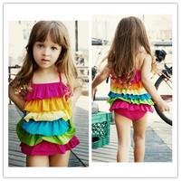 Hot Sale NEW Baby Girls/Chlidren/Kids One Piece Swimwear Swimsuit Colorful Lovely Cute Bikini Swiming Beach Wear 1-8years 850172