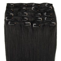 100% remy Brazilian Human Hair Clip-in Straight Hair Extension 20 Clips 8 Piece Jet Black Hair Color(#1) 16''-28'' Length 120g