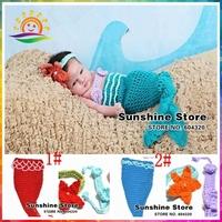 Cute blue Mermaid baby crochet photo prop,Newborn handmade Knit infant costume pearl headband Crochet clothes #3C2644 retail