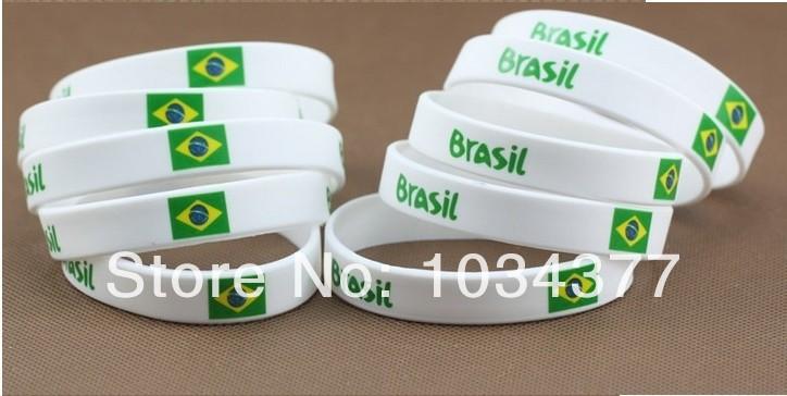 white color 2014 World Cup Fans Sport wrist Brazil Brazilian national sports wrist bracelet unisex bracelet radiation(China (Mainland))