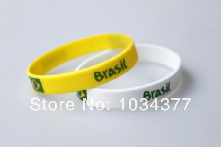 mix color 10/lot 2014 World Cup Fans Sport wrist Brazil Brazilian national sports wrist bracelet unisex bracelet radiation(China (Mainland))