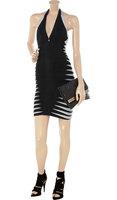 Plunge-back V neckline Stripes Halter Bodycon Dress Women Brand New 2014 Sexy Club Dresses Open Back  Free Shipping