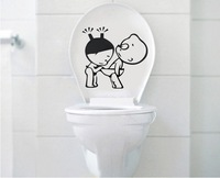 3set/lot Lovely pvc creative Toilet Stickers bathroom decro wall stickers size 25*25 black Free Shipping
