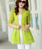 2014 spring beach sun protection clothing women  coats embroidered organza flowers  women cardigan jacket
