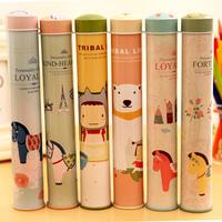 Ann circle of tea tin can cylindrical tinplate storage box pen