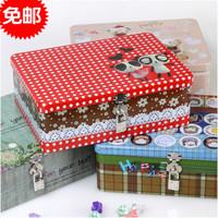 Large tin with lock advanced tinplate stationery box storage box drug storage box square tin box