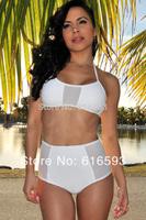 Free Shipping LC40688 Sexy Women Spa Bikini Set Retro Style High Waist Two Pieces Swimwear Halter Neck Gauze Patchwork Biquini