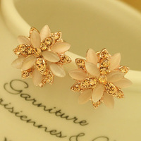 Natural -  earrings 18k gold Women fashion earrings anti-allergic