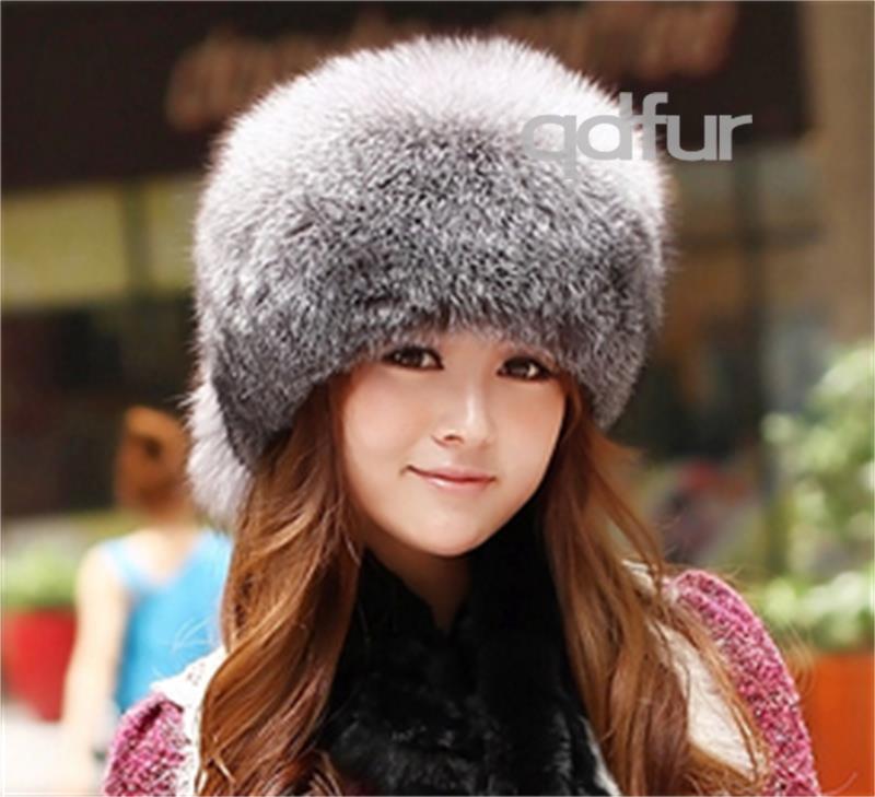 De luxe hiver, féminine's véritable. véritable fourrure de renard fedoras chapeaux, dame chaude coiffures femelle, topflip qd30261-1