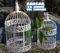 Fashion iron wrought iron birdcage white small bird cage decoration hanging bird cage Large