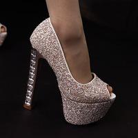 Free shipping women pumps 2014  fashion metal rivets fine with the fish head high-heels women shoes