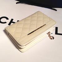 Plaid women's 2014 cowhide wallet short design oil skin genuine leather fashion medium vintage female wallet