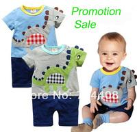 Retail Promotion!!! Baby rompers boy's short sleepsuit cartoon broidery dinosaur summer jumpsuits NewBorn Top-Cotton
