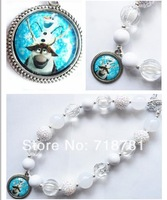 Best seller Frozen movie Olaf and Sven pendant chunky necklace,bubblegum bead necklace for kid child's lovely jewelry!
