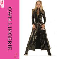Women black full length coat,plus size long gown coat,xxxxl size,leather coat,pu wet look coat online sell