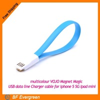 New Multi-color One Piece Multicolour Magnet Magic USB data line Charger cable for iphone 5 5G Ipad mini AC017