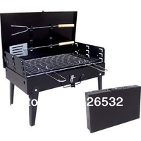 "wholesale ""Promotional"" portable charcoal bbq grill/ outdoor barbeque grill/ present 2 barbecue tools, 1pcs free shipping DHL"