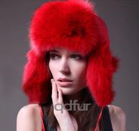 2014 Winter Women's Genuine Real Fox Fur Bomber Hats Lady Warm Earcap Female Headgear QD30260