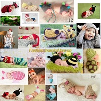 1Set  Baby Girls Boy Animal Cosplay Newborn-24M Knit Crochet Photography Clothing Photo Prop Hat Cap Short Jumpsuit Outfits
