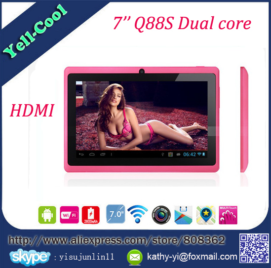 7 inch ATM7021 Dual core android tablet pc HDMI Q88 512RAM 4GB ROM android 4.2 OTG WIFI dual camera capacitive Screen 100pcs/lot(China (Mainland))