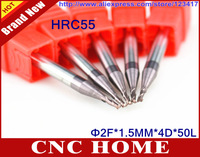 Free Shipping 5pcs HRC55 1.5MM 2 Flutes AITiN Coated End Mills, CNC Milling Cutters, Tungsten Carbide Endmills, CNC Router Bits
