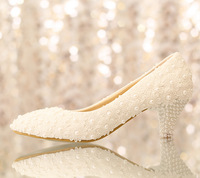 Women's White flower lace wedding  low heeled pearls pumps bridal princess shoes sys-194