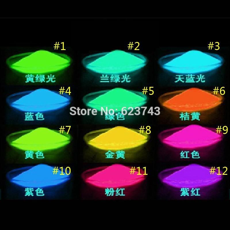Frei schiff rot/gelb/grün/blau/lila/rosa farbe 100g/bag leuchtenden pulver neon pulver leuchtfarbe glühende pulver diy glühenden