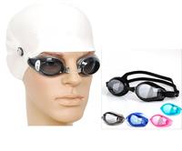 anti-fog Waterproof  UV resistance men women Swim Eyewear swimming protective Plain glasses goggles +earplugs + nose clamps