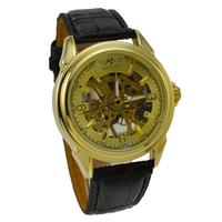 Wholesale Fashion Clock Watch Luxury Yellow Gold  Mechanical Hand Wind Watch Wristwatch Men Leather Skeleton Mechanical Watches