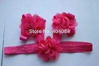 Newest 15color Newborn baby headband barefoot sandal sets Mini chiffon flower head wear accessories 15sets/lot