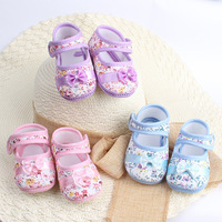 Baby Girl Kids Shoes Flower Printed Toddler Infants Bowknot Prewalker Free shipping & Drop shipping