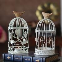 Fashion cutout white rustic birdhouse shape iron lantern mousse wedding props candle table decoration