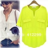 S-XL Free Shipping women's fashion summer short-sleeve V-neck 100% cotton modal T-shirt basic t shirt summer shirt