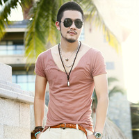 2014 summer sexy sweetheart neckline decorated wooden buckle men's short-sleeved T-shirt Slim thin section Y1P2