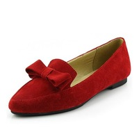free shipping  Red matte leather pointed shoes student flat in the mouth bow ladies flat shoes with a single
