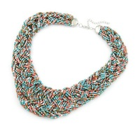 Fashion bohemia handmade acrylic seed beads elegant women bib statement choker collar necklace