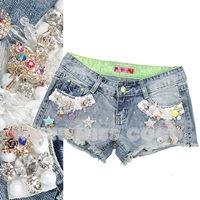 free shipping Miss coco2014 spring and summer rhinestone flower sexy slim denim shorts